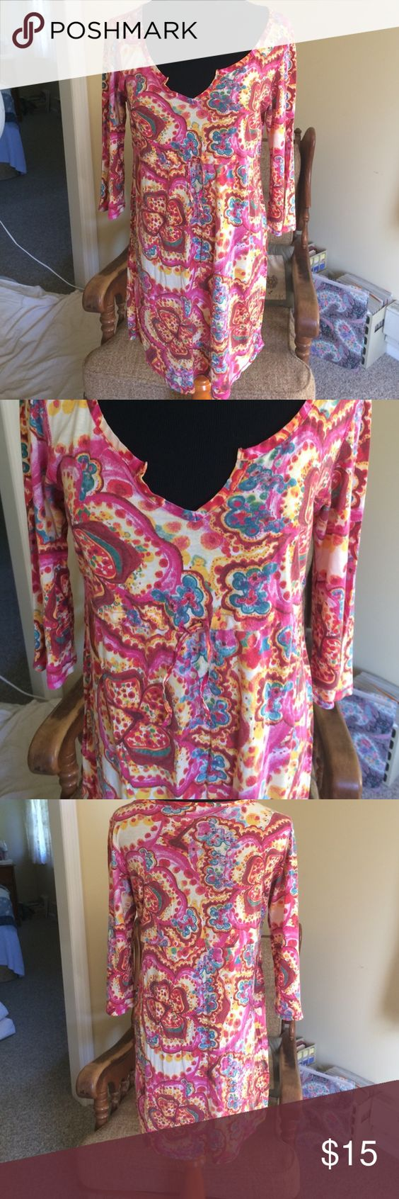 Lucky Brand tunic Beautiful colors - teal, cream, pink, yellow, and red.  Great shape and so lovely.  The empire waist has a drawstring for a great fit. Lucky Brand Tops Tunics