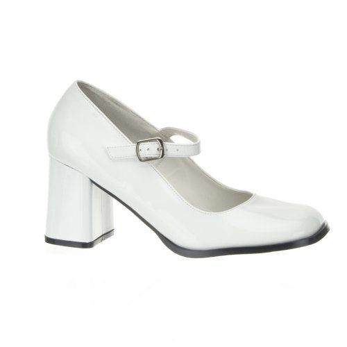 block heel white shoes  Block Heel Mary Jane Pump Shoes White