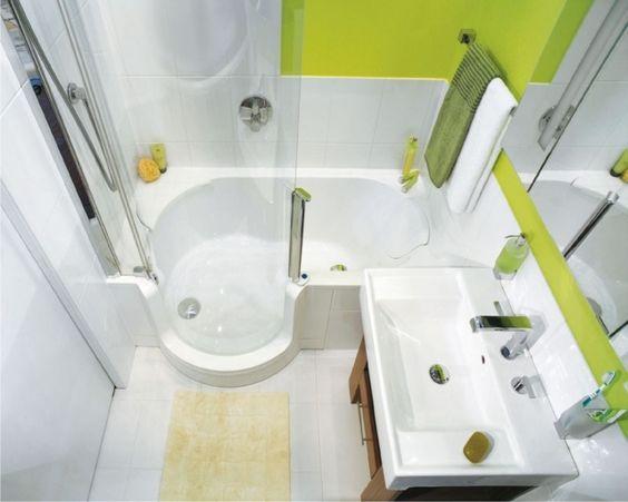 kleines bad gestalten beispiel badewanne duschkabine   Bad   Pinterest