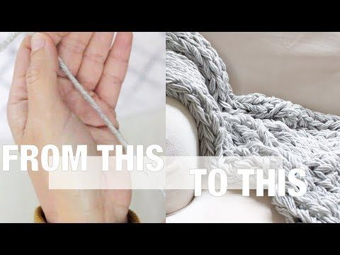 How To Arm Knit With Thin Yarn Including Blanket Pattern Simply