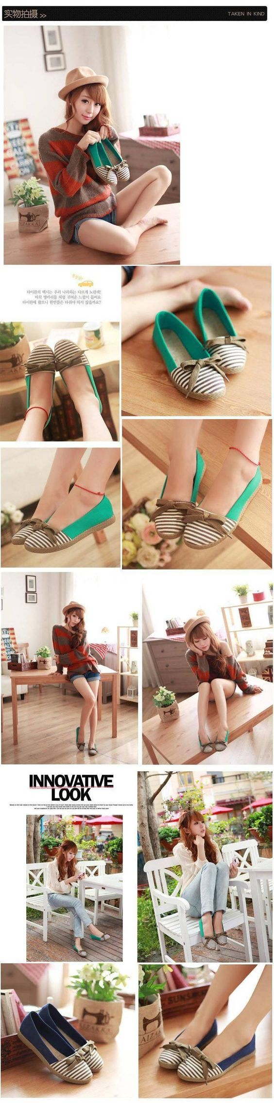 Bow-Accent Striped Flats - BAYO