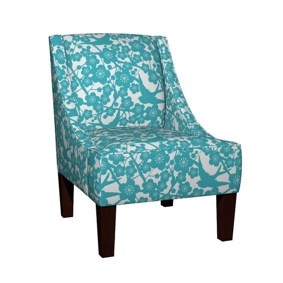 Venda Sloped Arm Chair featuring Cherry Blossom - Aqua by kwikdrw | Roostery Home Decor