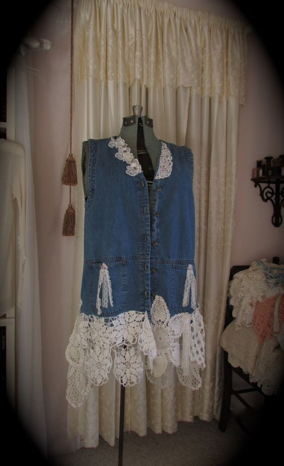 Refashioned Denim Top / altered shabby n chic / tattered country ranch prairie cottage clothing / Large on Etsy, $123.00: