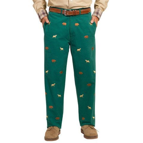 Mariner Pants in Hunter Green with Bull and Bear by Castaway Clothing