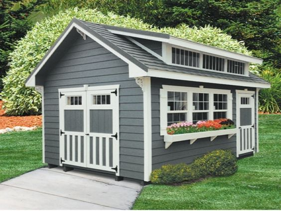 The Ultra Series is an attractive, portable storage shed that will look great in your backyard. The door and window in the sidewall makes it a perfect building to turn into a workshop. Just add a workbench and shelves and you've got a wonderful place in which you can do your hobby. You can add a tool organizer to make even better use of your space. A skylight will give you extra lighting.