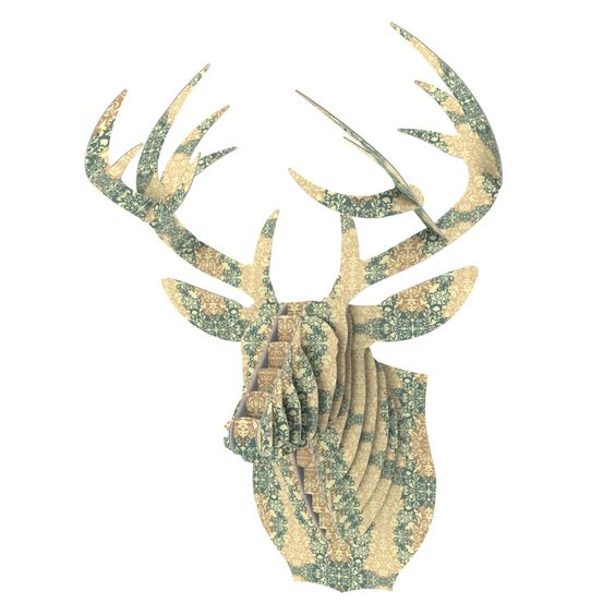 "Mydeas ""Fancy Damask Antique"" Brown Teal Bucky Deer Bust Jr."