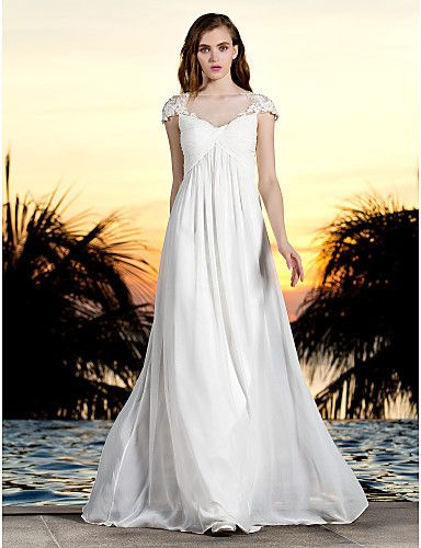Sheath/Column Bateau Floor-length Georgette And Tulle Wedding Dress (788853)