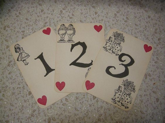 I can make these. Custom Listing for Carly - Alice in Wonderland Table Numbers - Set of 18