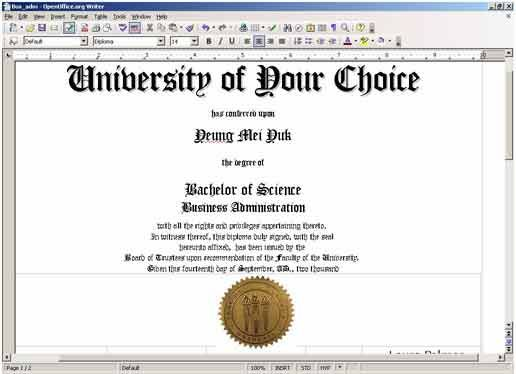 Free printable college diploma fake diploma fake for Fake college degree template
