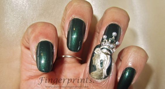 Princess nail art by Fingerprints. Pomegranate Nail Lacquer Palace Gardens