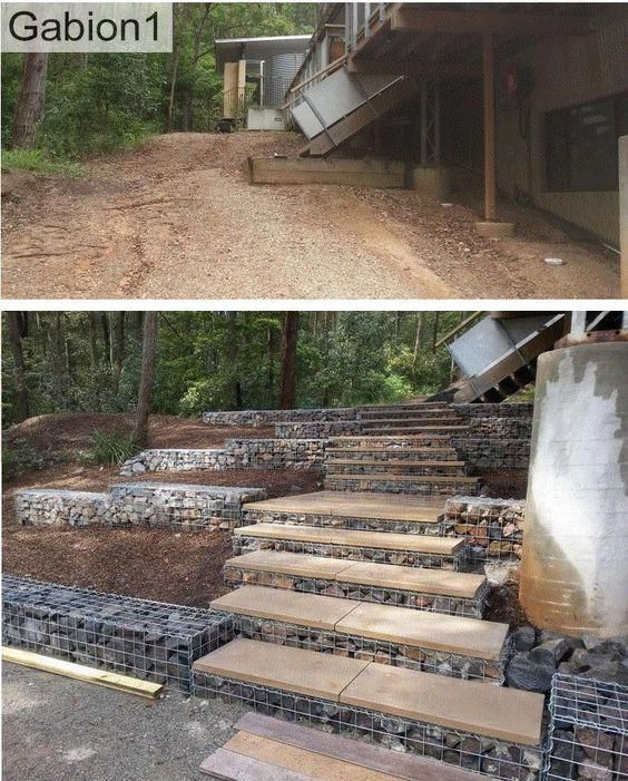 I Have Not Considered This Previously Front Steps Landscaping With Images Sloped Garden Garden Stairs Landscape Design