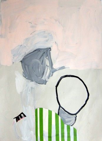 Pink Clouds + Green Stripes #1 by Sarah Boyts Yoder