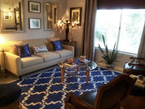 Tan and blue living room from diy user bluehue7 http for Navy blue carpet living room