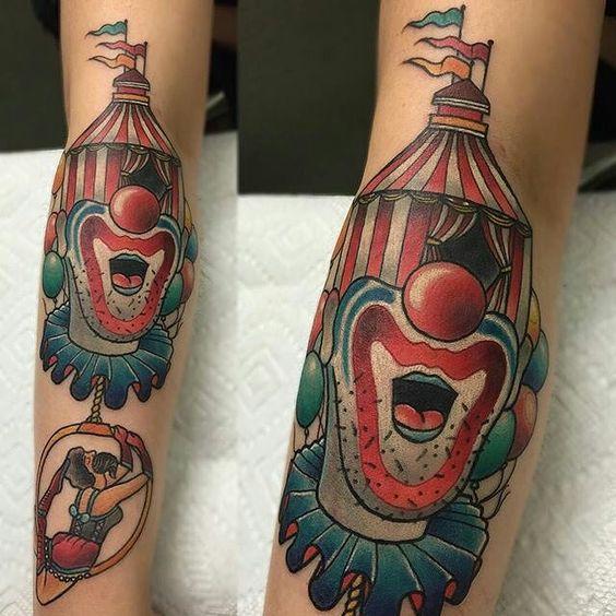Circus tattoo by @jayjoree at @lastangelstattoos in Dallas, TX #jayjoree #lastangelstattoos #dallas #texas #clowntattoo #clown #circustattoo #circus #tattoo #tattoos #tattoosnob