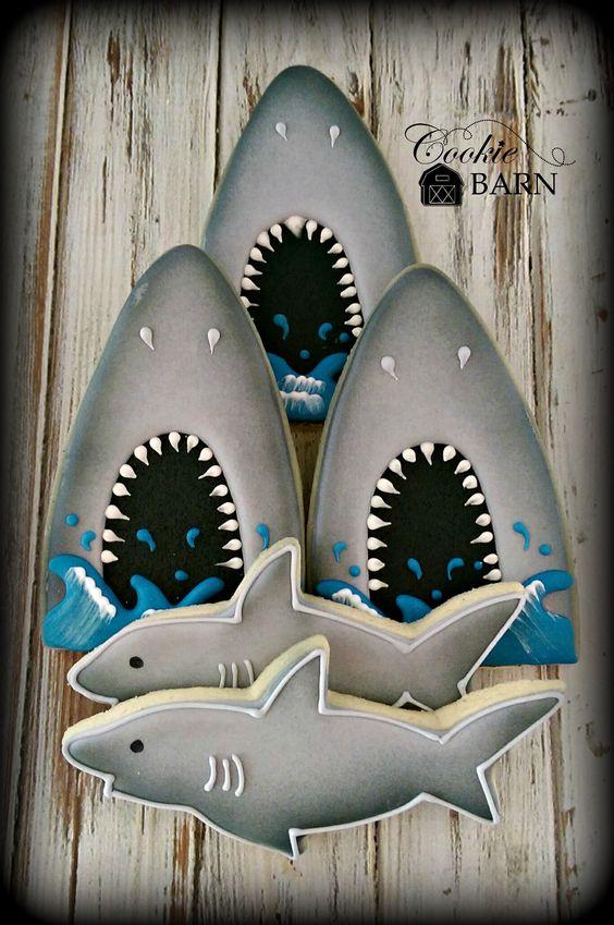 Shark Ocean Nautical Decorated Cookies Shark Week