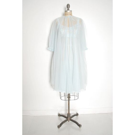 vintage 60s Vanity Fair nightgown ice blue nylon lace chiffon babydoll... ($31) ❤ liked on Polyvore featuring intimates, vintage lace lingerie, blue lingerie, lace babydoll lingerie, nylon lingerie and babydoll lingerie
