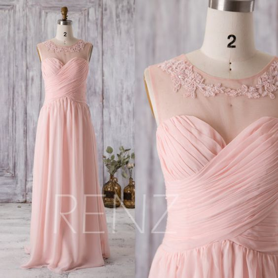 2016 Peach Chiffon Bridesmaid Dress, Sweetheart Illusion Wedding Dress with Lace, Ruched Bodice Long Prom Dress Floor Length (G202)