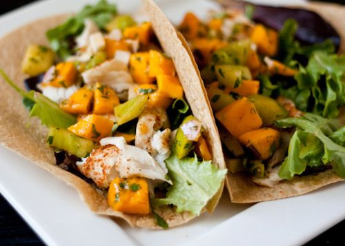 Healthy Fish Tacos with Mango Salsa ..... Substituted tilapia for salmon marinaded in 1 part soy sauce and 1 part mayo....and changed the green tomato to red bell pepper!!!...the tacos were wonderful served on lightly fried flour shells