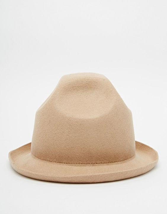 Image 2 ofASOS Felt Tall Hat With Short Brim