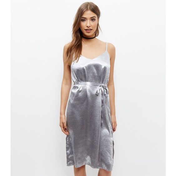 New Look Silver Metallic Sateen Belted Slip Dress (£20) ❤ liked on Polyvore featuring dresses, silver, party dresses, wetlook dress, slip dress, white belted dress and new look dresses