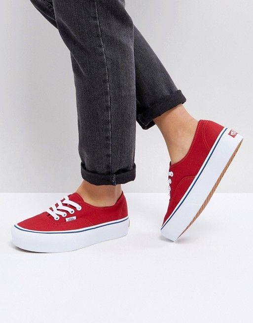 Vans Platform Authentic Sneakers In Red