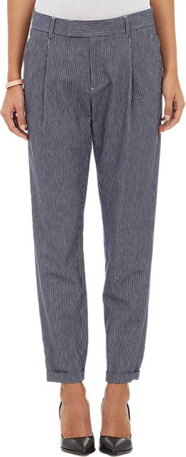 Vince. Railroad-Stripe Flannel Pleated Trousers - Straight - Barneys.com
