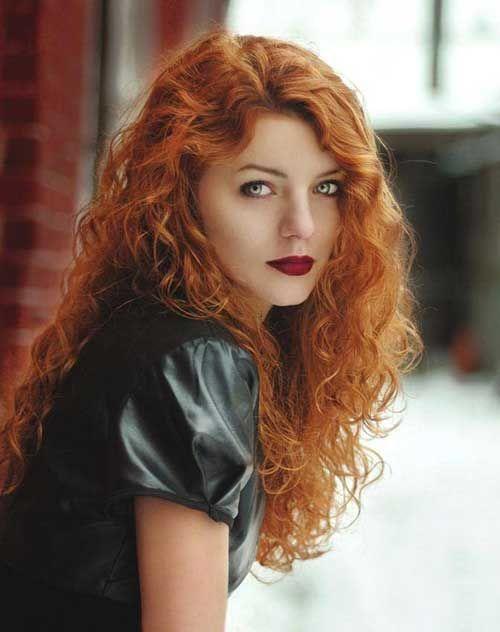Curly natural redhead