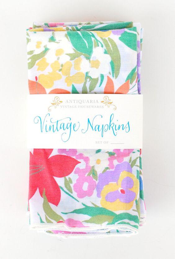 Image of Spring Floral Napkins, set of 8  vintage napkins