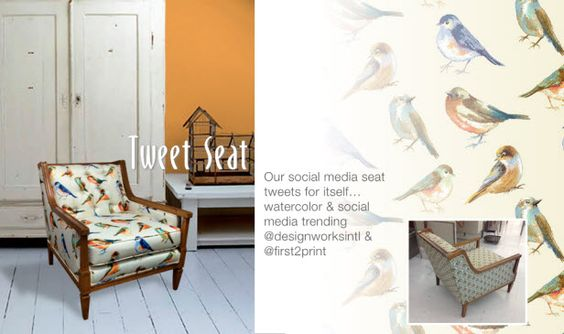 "Behind the Scenes of ""The Design a Seat"" Campaign for SURTEX (http://blog.hgtv.com/design/2014/05/14/behind-the-scenes-of-the-design-a-seat-campaign-for-surtex/?soc=pinterest): Print Fabrics, Room Makeover, Living Room, Family Rooms, Bird Prints, Scene, Blog Design, Design Blog"