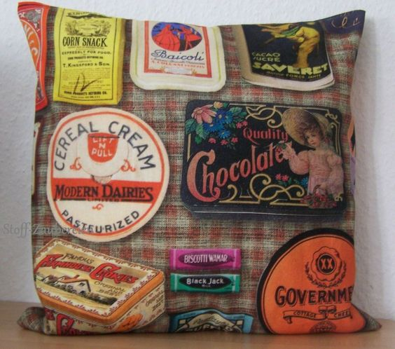 Kissen Kissenhülle Bezug Retro Vintage Dosen Blechdosen Keksdosen Digitaldruck