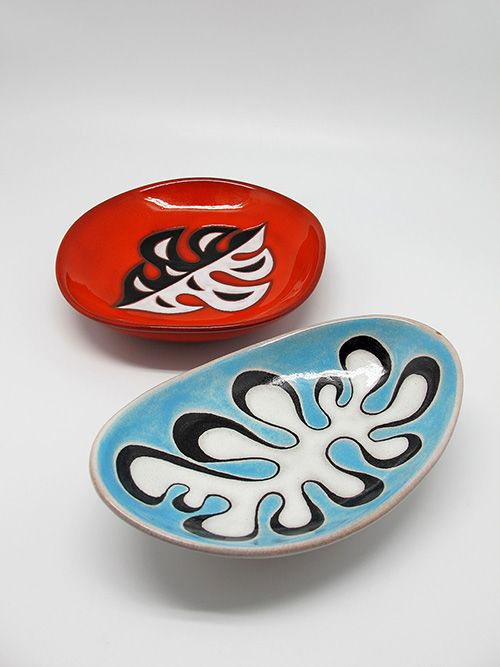 Jean Picart Le Doux and Yverdon Swiss; Glazed Ceramid Dishes, 1950s.: