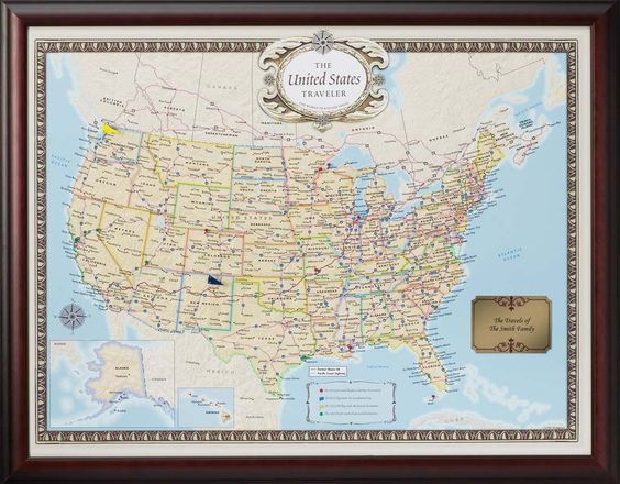 Personalized US Traveler Map – Personalized World Traveler Map Set