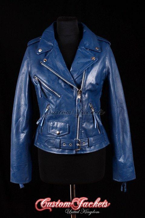 Ladies Brando Blue Cowhide Leather Motorbike Biker Motorcycle Blouson Jacket Deri Ceket Deri