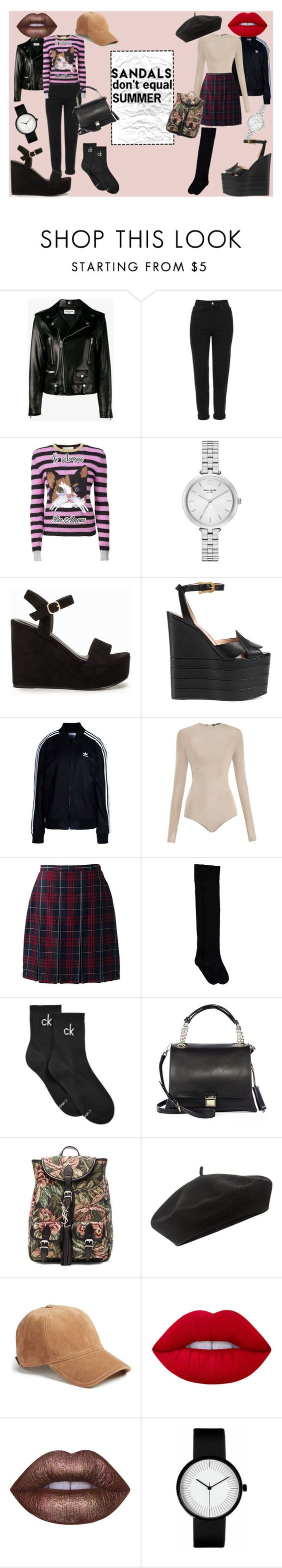 """""""sandals don't equal summer"""" by wizardswithnomoney ❤ liked on Polyvore featuring Yves Saint Laurent, Topshop, Gucci, Kate Spade, Nly Shoes, adidas Originals, Balmain, Lands' End, Calvin Klein and Miu Miu"""