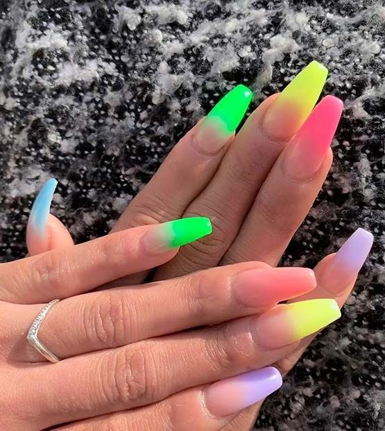 43 Neon Nail Designs That Are Perfect For Summer Stayglam Neon Nail Designs Neon Nails Vibrant Nails