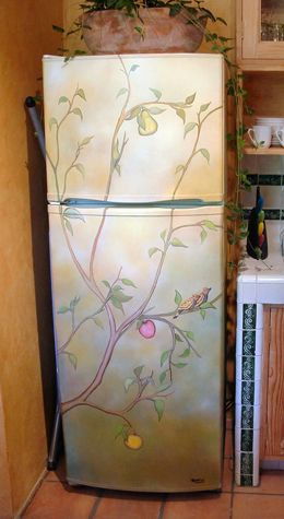 Painting refrigerators and dishwashers, etc...should be a new opportunity for those who paint murals for the public!  Source: http://www.kitchenisms.com/finds/tag/wallpaper