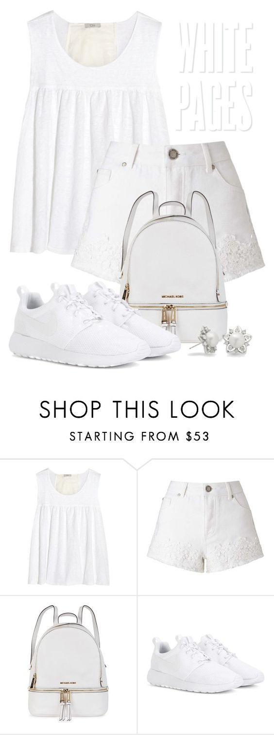 """""""White 1489"""" by boxthoughts ❤ liked on Polyvore featuring Clu, Miss Selfridge, Michael Kors, NIKE and Allurez"""