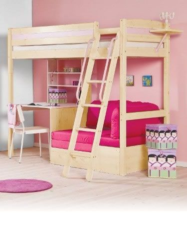 bunk bed with desk and cushion space underneath i like this for when shes a bunk bed office space
