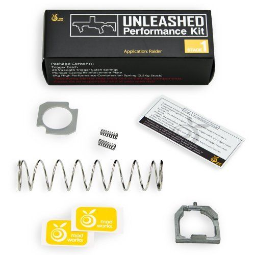Unleashed Performance Stage 1 Mod Kit for Nerf Raider by Orange Mod Works. $18.99. This kit includes metal trigger catch, 2x double strength trigger catch springs, reinforcement plate, and 5+ kg mainspring (2.5kg stock).. When installed, the Raider shoots 80fps muzzle velocity with up to 55ft range (parallel to ground) and up to 65ft range (30 degrees angled to ground).. Blaster not included.. Mod at your own risk! Increasing the spring tension can break or damag...