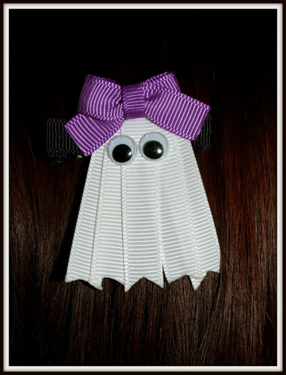 Ribbon Ghost great for Halloween   How cute is this!!
