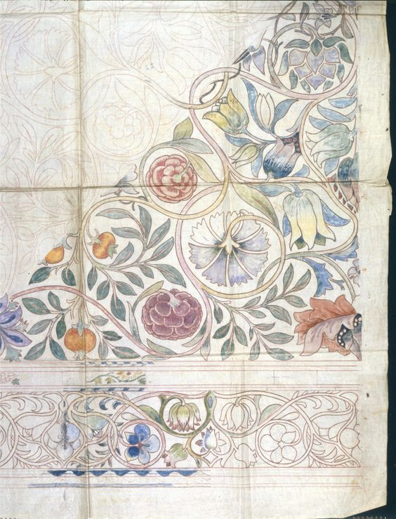 Working drawing for an embroidery, possibly for a wall-hanging, by William Morris. Red chalk and watercolour on both sides of a  sheet of calico. V&A Museum