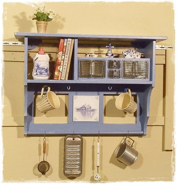 Wandregal, Küchenregal in blau, Shabby | Shabby and Products | {Küchenregal 32}