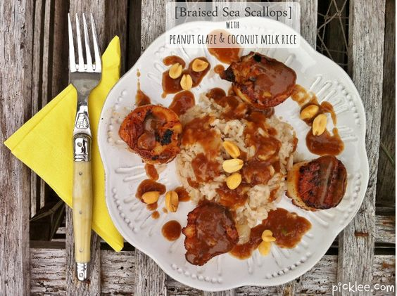 My absolute favorite scallop dish...Braised sea scallops with Peanut Glaze & Coconut Milk Rice