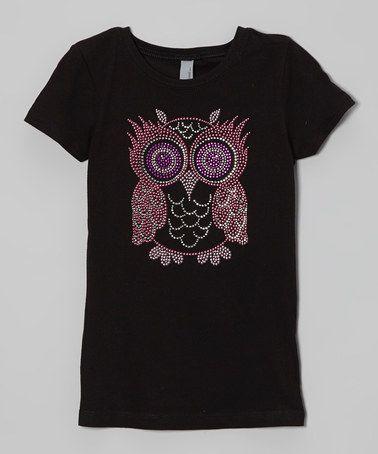 Look what I found on #zulily! Black & Pink Big Owl Sparkle Tee - Toddler & Girls #zulilyfinds