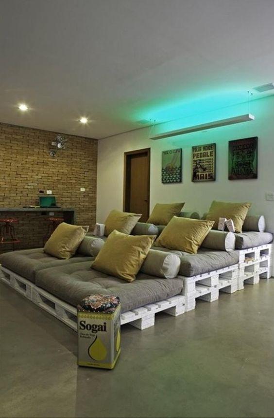 Movie room pallet seating