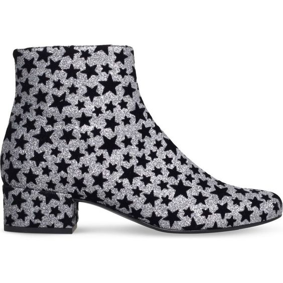 Saint Laurent Babies 40 stars ankle boots (4.165 DKK) ❤ liked on Polyvore featuring shoes, boots, ankle booties, short boots, bootie boots, mid heel ankle boots, leather ankle boots and glitter boots