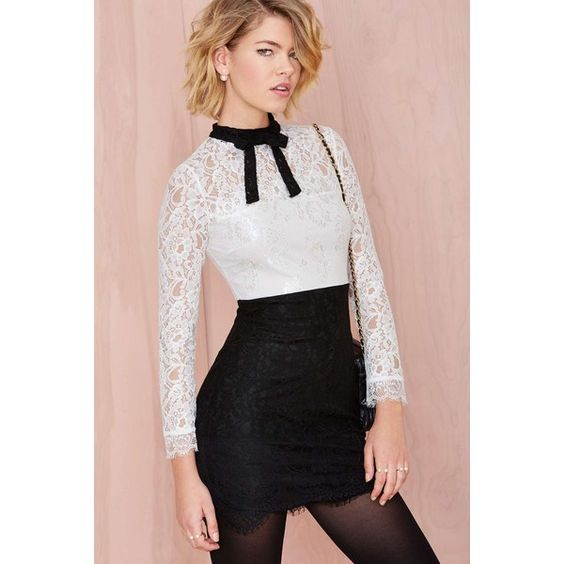 Nasty Gal Tied Up Lace Dress (535 ZAR) ❤ liked on Polyvore featuring dresses, outfits, short dress, zipper dress, short dresses, black dress, short black cocktail dresses и black tie dresses