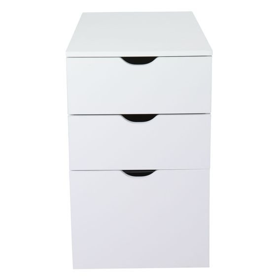 caisson de bureau 3 tiroirs blanc l30xh70xp70cm gothan. Black Bedroom Furniture Sets. Home Design Ideas