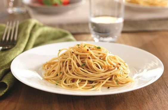 Recipe ~ Spaghettini with Garlic, Red Pepper & Extra Virgin Olive Oil ...