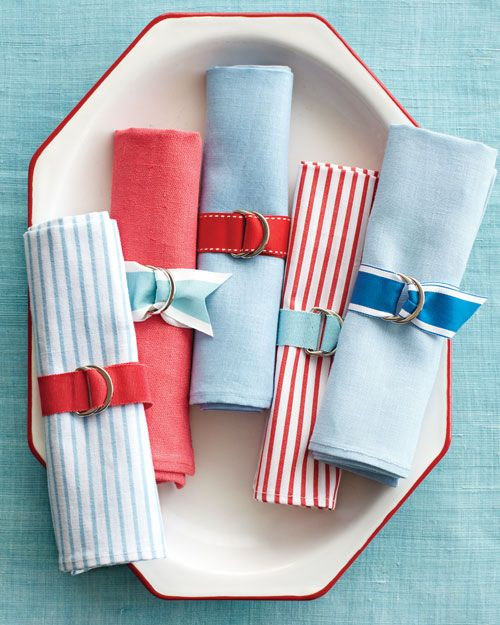 Preppy Napkin Rings - Martha Stewart Good Things - use colors for other holidays for quick napkin rings.: Napkin Rings, Table Setting, Party Idea, Blue Napkin, Red White, Preppy Napkin